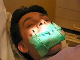 Patient ready for root canal procedure
